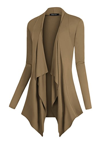 Round Collar Womens Coat - Urban CoCo Women's Drape Front Open Cardigan Long Sleeve Irregular Hem (M, Camel)