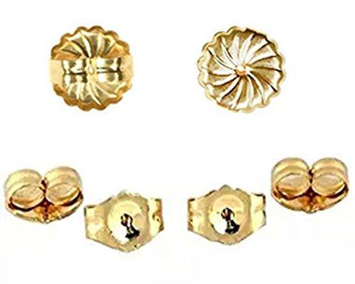 14K Yellow Gold Earring Backs Ear Locking (6 Piece & 2 Kinds) 14k Yellow Gold Two Piece