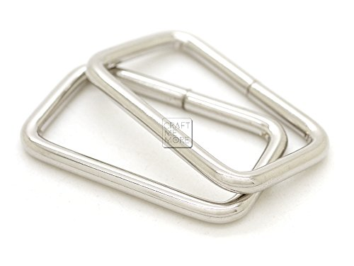 CRAFTMEmore Metal Rectangle Buckle Ring for Bag Belt Loop Strap Heavy Duty Rectangular Cord fits Webbing 1-1/4