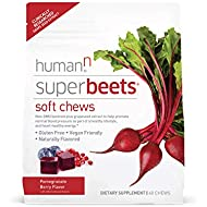 humanN SuperBeets Soft Chews | Grape Seed Extract and Non-GMO Beet Powder Helps Support Healthy Circulation, Blood Pressure, and Energy, Pomegranate-Berry Flavor, 60-Count