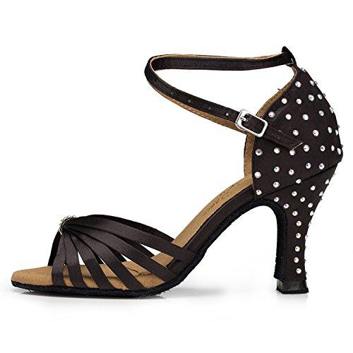 Miyoopark , Damen Tanzschuhe , schwarz - Black-8cm heel - Größe: 35