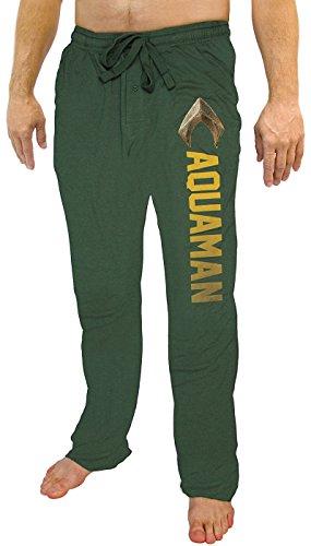 DC Comics Men's Justice League Aquaman Character Logo's Lounge Pajama Pants MD