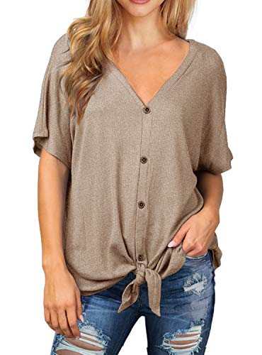IWOLLENCE Womens Waffle Knit Tunic Blouse Tie Knot Short Sleeve Henley Tops Loose Fitting Bat Wing Shirts Khaki L ()