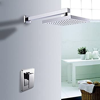 KES Shower Trim and Rain Shower Head Combo (Brass Body Single Handle) with Faceplate and Supply Arm Modern Square Polished Chrome, X6210