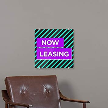 Modern Block Premium Acrylic Sign 16x16 Now Leasing 5-Pack CGSignLab