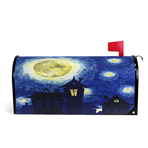 "Wamika Van Gogh Halloween Starry Night Magnetic Mailbox Cover MailWraps, Mailbox Wraps Post Box Garden Yard Home Decor for Outside Standard Size 20.8""(L) x 18""(W) ()"