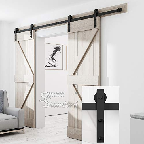 SMARTSTANDARD 10FT Heavy Duty Double Gate Sliding Barn Door Hardware Kit, Black, 10' Two Track Rail, Smoothly and Quietly, Simple and Easy to Install, Fit 30