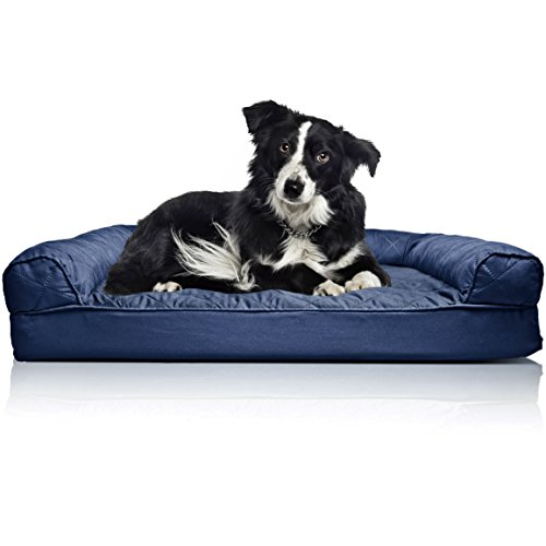 FurHaven Pet Dog Bed | Orthopedic Quilted Sofa-Style Couch Pet Bed for Dogs & Cats, Navy, - Bed Couch Dog Large
