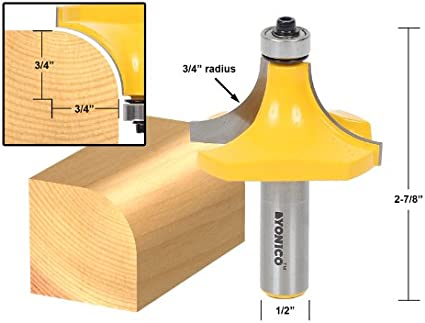 Yonico 13969 7//8-Inch Radius Round Over Edge Forming Router Bit 1//2-Inch Shank