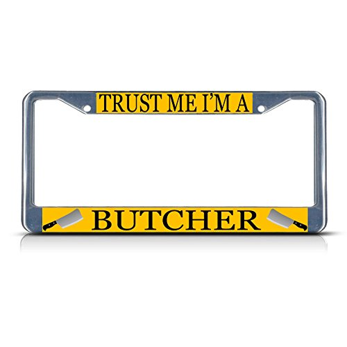 Bravo Rescue Knife (Butcher Style 3 Career Profession Metal License Plate Frame Tag Border Two Holes Perfect for Men Women Car garadge Decor)