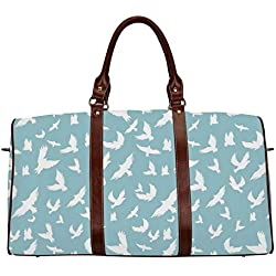 "Blue Women's Travel Bag,Flying Birds Open Wings Silhouettes Clear Summer Sky Hovering Feathered Animals for Ladies,18.62""L x 8.5""W x 9.65""H"