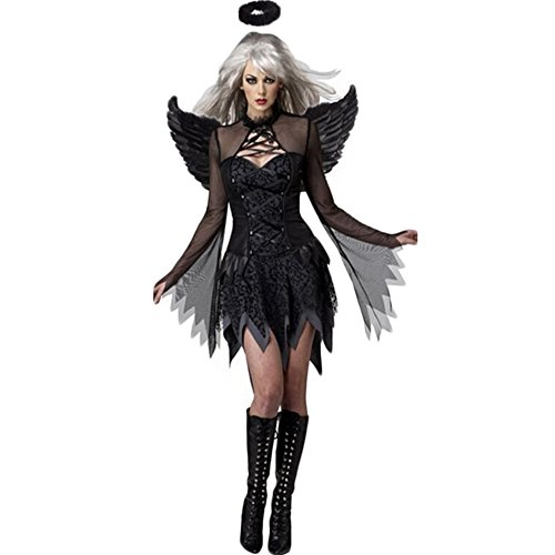 Costour Women's Halloween Costumes with Wings Party Halloween Cosplay Black -