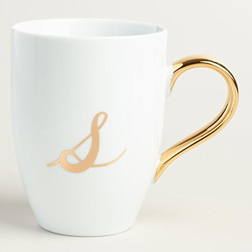 Gold Monogram White Porcelain Coffee Mug Tea Cup Letter S