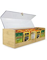 Bamboo Tea Storage Box | 5 Compartment Tea Bag Caddy Organiser | Tea Container With Clear Acrylic Lid | M&W