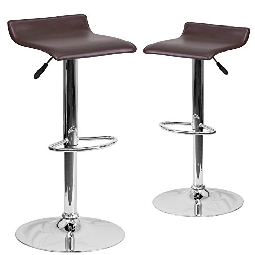 Flash Furniture 2 Pk. Contemporary Brown Vinyl Adjustable Height Barstool with Chrome Base (Contemporary Kitchen Stools)