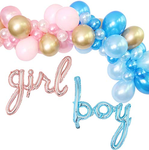 Gender Reveal Balloon Garland Kit - Baby Pink and Sky Blue Balloon Arch Kit BOY Girl Foil Balloons Boy or Girl Gender Reveal Decor (Pink/Blue)]()