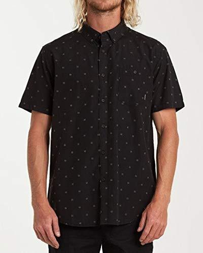 Billabong Men's All Day Jacquard Short Sleeve Shirt Black Medium
