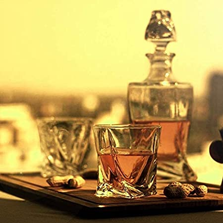 HLR Vasos de Whisky Jarra de Whisky Whisky la Jarra, de Primera Calidad 1 Iceberg Whisky Decanter (29 oz) con 4 Iceberg Whisky Glasses (10 oz) for Liquor Scotch Bourbon Vodka Brandy o Vino