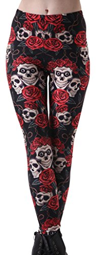 - Sister Amy Women's High Waist Pure Color Digital Printted Ankle Elastic Tights Leggingg Flower Skulls