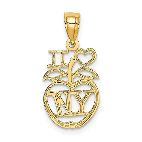 (14k Yellow Gold I Heart Ny Apple Pendant Charm Necklace Love Travel Transportation Fine Jewelry Gifts For Women For Her)