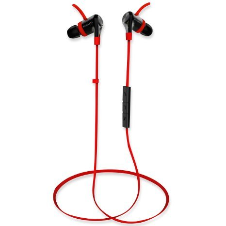 MaxWave Wireless Bluetooth Earbuds With Premium High Bass Sound, aptX for CD Quality Audio, Noise Cancellation and Voice Guidance - Comfortable, Lightweight and Easy to Use with all your Bluetooth Enabled Mobile Phones, Tablets and Computers (Red)