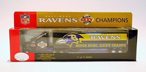 Baltimore Ravens 2000 Super Bowl - Fleer White Rose 2000 Baltimore Ravens Super Bowl XXXV 35 Champions LIMITED EDITION Diecast Tractor Trailer