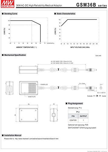 MEAN WELL GSM36B12-P1J 12V 3A 36W AC-DC High Reliability Medical Adaptor