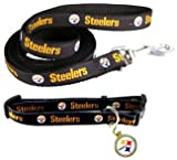 The Pittsburgh Steelers NFL Football Club Dog Collar / Leash / ID Tag Set Size MED