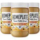 HomePlate Peanut Butter, Honey Flavored Creamy, Healthy, Natural, Gluten Free, Non-GMO, 16 oz. Jar, Pack of 3 by Home…