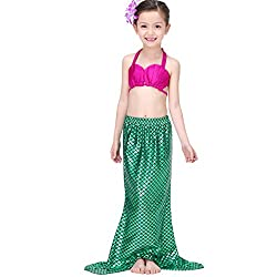 PGXT Girls 3 Pcs Princess Mermaid Tail Swimwear Swimsuit Bikini Set Green 2 130CM