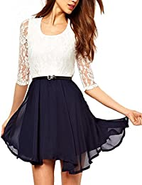 Womens White lace Joining Dark blue Short skirt Half Sleeve dress