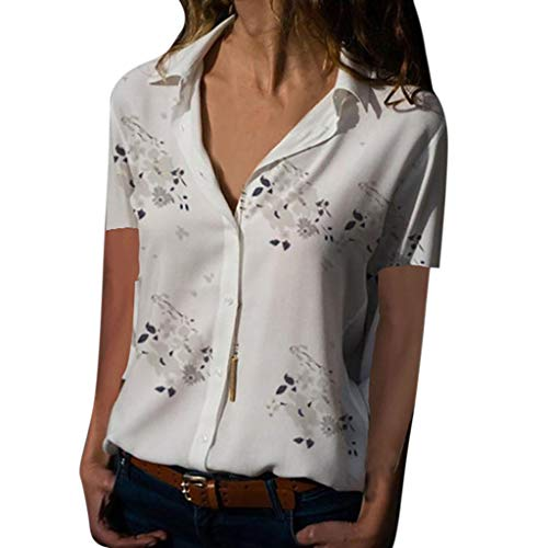 Rocker Henley - Lovor Womens Summer Casual V Neck Floral Print Short Sleeve Button Down Collar Loose Henley Blouses Tunic Blouse Shirt(White,M)