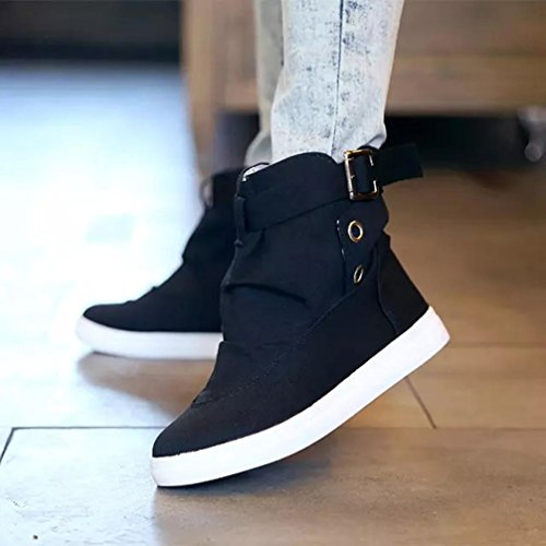 Womens Boots,Clode® Fashion Women's Ankle Boots Flats With Buckle Lace-Up Fashion Canvas Martin Boots Black