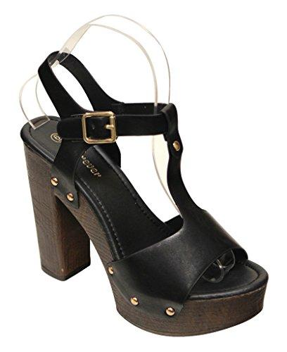 Forever Eileen-45 Womens Chunky Heel Metal Dot T-Strap Slingback Woody Platform Sandals Black
