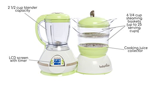 Babymoov Nutribaby - 5 in 1 Baby Food Maker with Steam Cooker, Blend & Puree, Warmer, Defroster, Sterilizer (Zen)