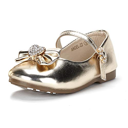Dream Pairs ANGEL-22 Mary Jane Front Bow Heart Rhinestone Buckle Ballerina Flat (Toddler/ Little Girl) New, Gold Pu, 10 M US Toddler