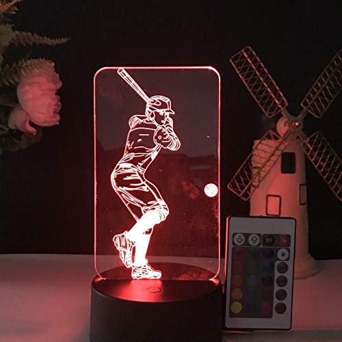3D Illusion LED Night Light,7 Colors Gradual Changing Touch Switch USB Table Lamp for Holiday Gifts or Home Decorations (Remote Control,Baseball Light,Baseball Player) - Baseball Lamp