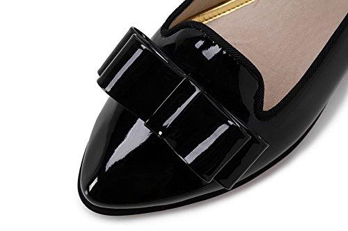 AllhqFashion Damen PU Leder Niedriger Absatz Spitz Zehe Rein Ziehen auf Pumps Schuhe Schwarz