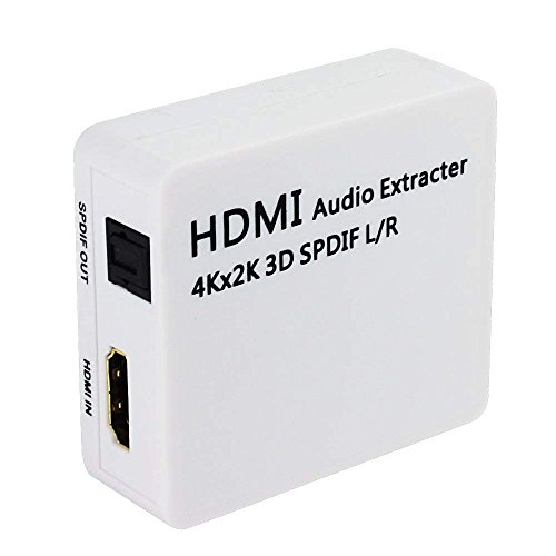 HDMI Audio Extractor, SQDeal 4K x 2K HDMI to HDMI + Optical Toslink(SPDIF) + 2RCA(L/R) Analog Outputs Video Splitter Adapter Converter by SQDeal