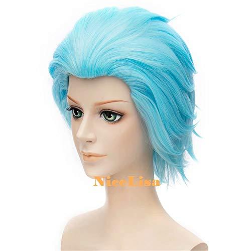 NiceLisa Masquerade Peluca de noche para cosplay, color azul claro, parte trasera lisa, para hombre, para jugar al ánimo: Amazon.es: Belleza
