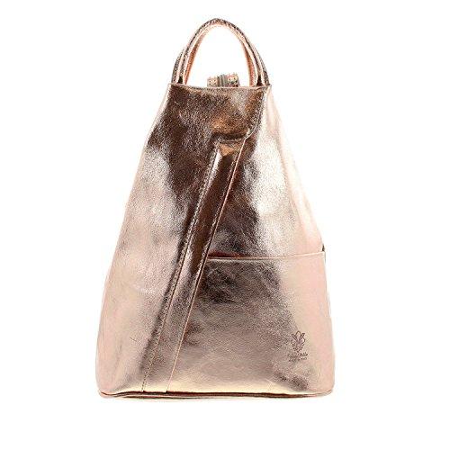 IO.IO.MIO leichter echt Leder Damenrucksack CityRucksack DayPack freie Farbwahl , 27-18x30x13 cm (B x H x T) roségold