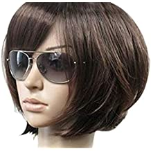 Kalyss Women's Short Bob Wig With Hair Bangs Imported Heat Resistant Mix Dark Brown Yaki Syntheic Hair Wig