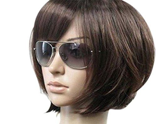 Kalyss Women's Short Imported Heat Resistant Mix Dark Brown Yaki Syntheic Hair Wig