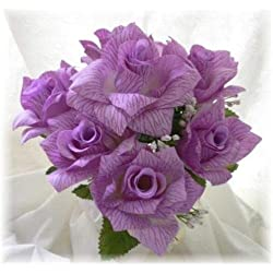 84 Open Roses Lavender Lilac Wedding Rose Bouquet Silk Centerpieces DIY Flowers