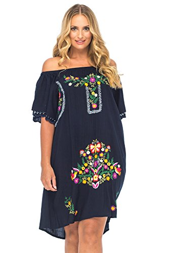 Deals on Back From Bali Womens Plus Size Mexican Embroidered ...