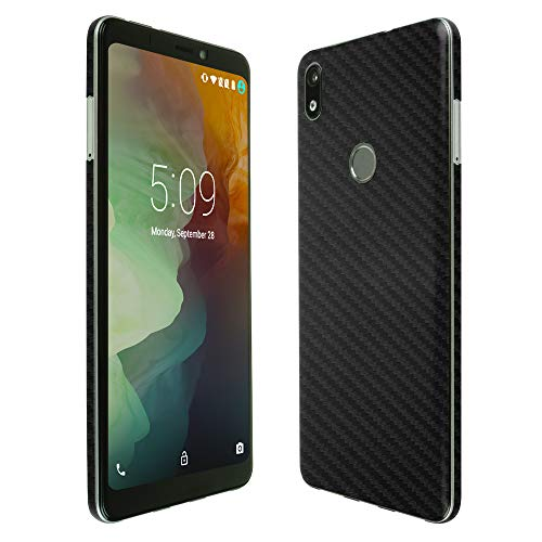 ZTE Blade Max 2s Screen Protector + Black Carbon Fiber Full Body, Skinomi TechSkin Carbon Fiber Film for ZTE Blade Max 2s with Anti-Bubble Clear Film Screen