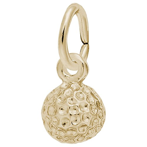 Golf Ball Charm In 14k Yellow Gold, Charms for Bracelets and Necklaces 14k Yellow Golf