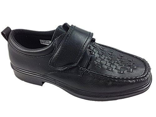 Mens Wide Fit Dr Keller Casual Velcro Fastening Lattice Style Woven Design Light Weight Formal Smart Shoe Black G4TABnxGv