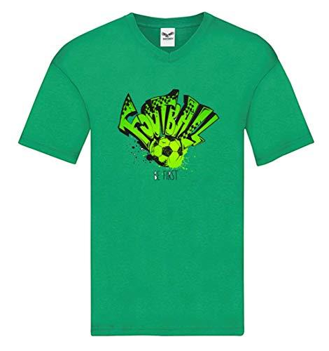 Camiseta V – Balón de fútbol equipo deporte – Camiseta para hombre y hombre con cuello en V