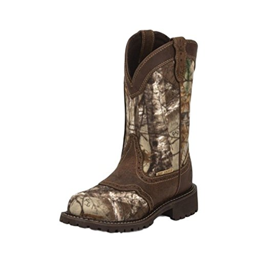 Justin Ladies Aged Bark - Justin Original Workboots Women's WKL9001 11-Inch WP EH ST Real Tree/Aged Bark 11 B